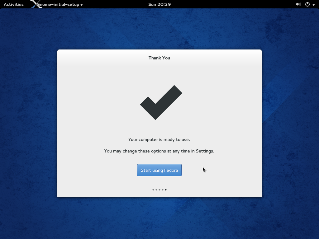 Fedora 20 Installation Successful